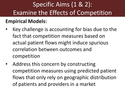 Specific Aims (1 & 2): Examine the Effects of Competition