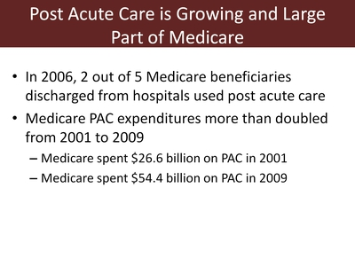 Post Acute Care is Growing and Large Part of Medicare