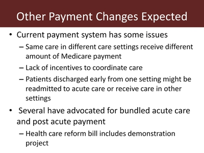 Other Payment Changes Expected
