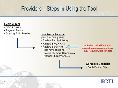 Providers-Steps in Using the Tool