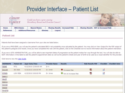Provider Interface-Patient List