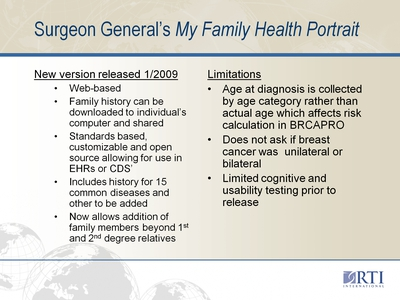 Surgeon General's My Family Health Portrait