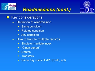 Readmissions (cont.)