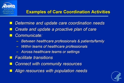 Examples of Care Coordination Activities