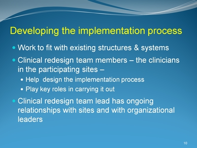 Developing the implementation process