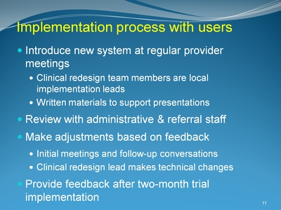 Implementation process with users