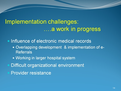 Implementation challenges . . . a work in progress