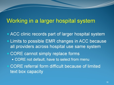Working in a larger hospital system