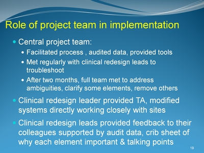 Role of project team in implementation