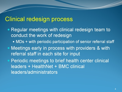 Clinical redesign process