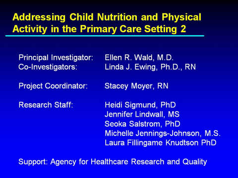 Slide 29. Addressing Child Nutrition and Physical Activity in the Primary Care Setting 2