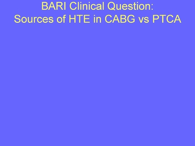 Weiss 8. BARI Clinical Question: Sources of HTE in CABG vs PTCA