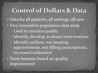 Control of Dollars and Data