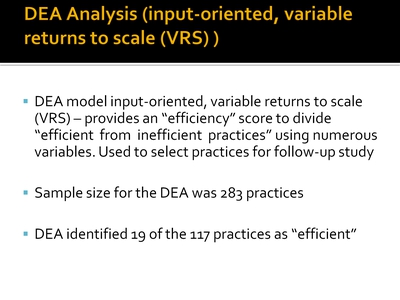 DEA Analysis (input-oriented, variable returns to scale (VRS))