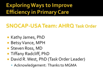 Exploring Ways to Improve Efficiency in Primary Care