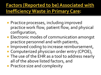 Factors [Reported to be] Associated with Inefficiency Waste in Primary Care