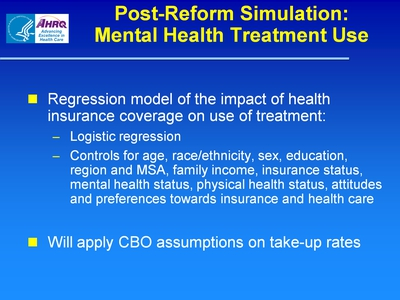 Post-Reform Simulation: Mental Health Treatment Use