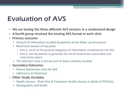Slide 15. Evaluation of AVS
