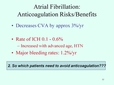 Slide 11. Atrial Fibrillation: Anticoagulation Risks/Benefits