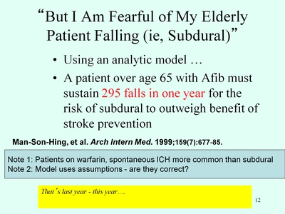 "Slide 12. ""But I Am Fearful of My Elderly Patient Falling (i.e., Subdural)"""