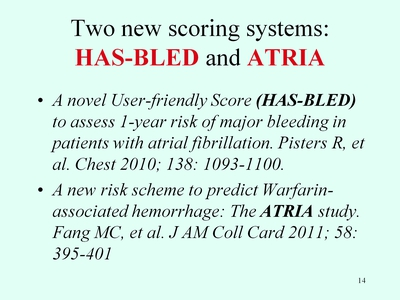 Slide 14. Two New Scoring Systems: HAS-BLED and ATRIA