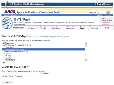 AHRQ HCUPnet CCS category browse page