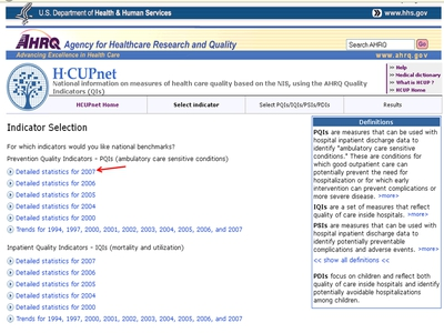 AHRQ HCUPnet indicator selection web site page