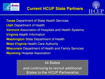 Current HCUP State Partners