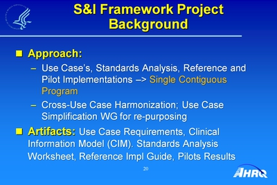 S and I Framework Project Background
