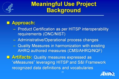 Meaningful Use Project Background