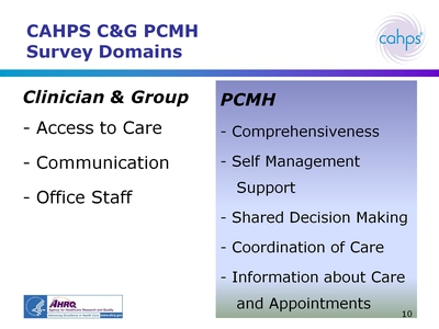 CAHPS CandG PCMH Survey Domains