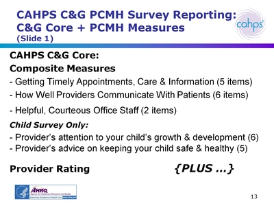 CAHPS CandG PCMH Survey Reporting: CandG Core + PCMH Measures (Slide 1)
