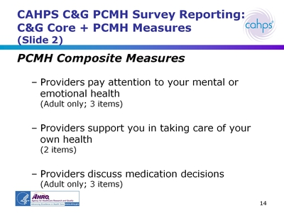 CAHPS CandG PCMH Survey Reporting: CandG Core + PCMH Measures (Slide 2)