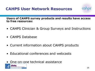 CAHPS User Network Resources