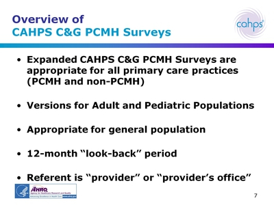 Overview of CAHPS CandG PCMH Surveys