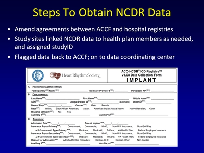 Steps To Obtain NCDR Data