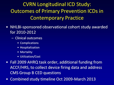CVRN Longitudinal ICD Study: Outcomes of Primary Prevention ICDs in Contemporary Practice