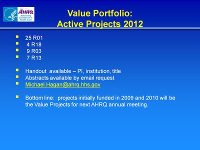Value Portfolio: Active Projects 2012