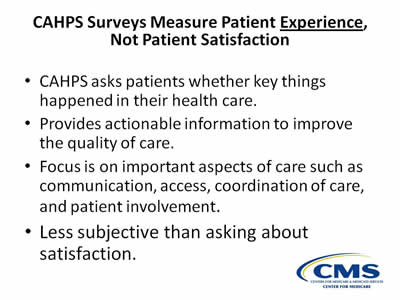 CAHPS Experience of Care Surveys From Design to Implementation – Sample Patient Satisfaction Survey