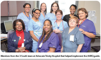 Members from the 3-South team at Advocate Trinity Hospital that helped implement the AHRQ guide.
