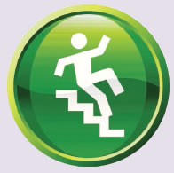 Image of person slipping on stairs