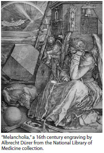Melancholia, a 16th century engraving by Albrecht Durer from the National Library of Medicine collection.