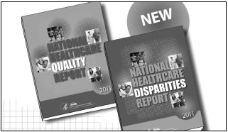 Photograph shows the covers of the new National Healthcare Quality and Disparities Reports.