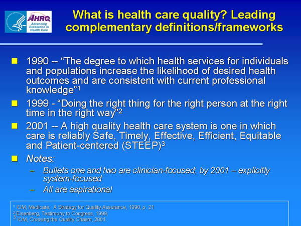 Slide 15. What is health care quality? Leading complementary definitions/frameworks