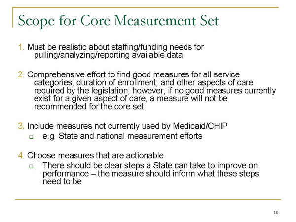 Slide 10. Scope for Core Measurement Set