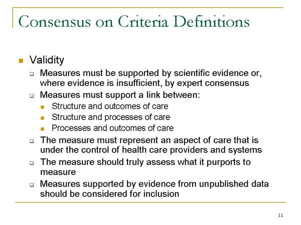 Slide 11. Consensus on Criteria Definitions