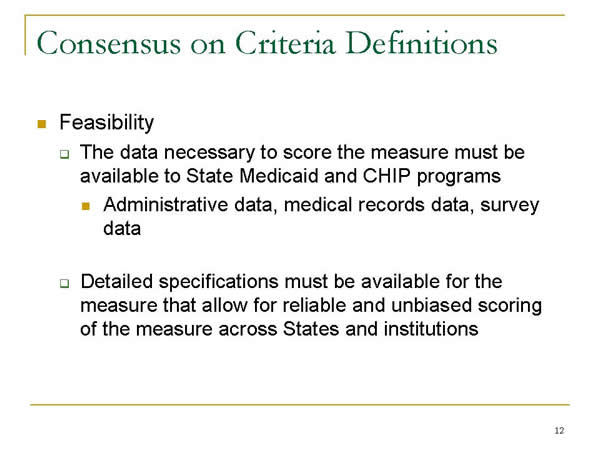 Slide 12. Consensus on Criteria Definitions (continued)