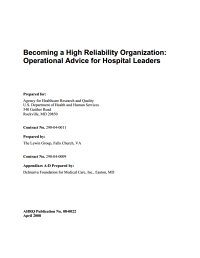 Becoming a High Reliability Organization  : Operational Advice for Hospital Leaders
