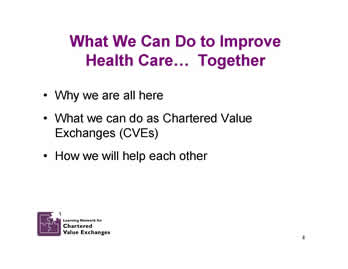 Slide 4: What We Can Do to Improve Health Care. Together