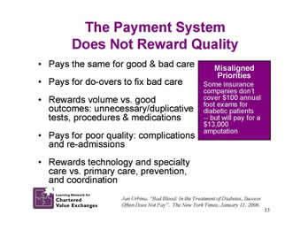 Slide 13: The Payment System Does Not Reward Quality